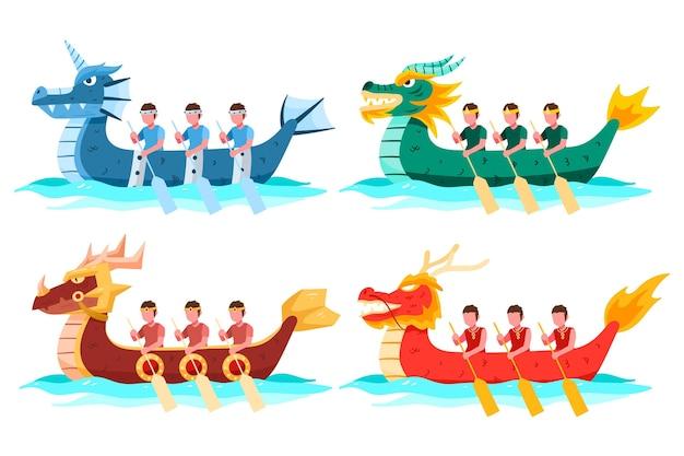 Коллекция лодок-драконов Бесплатные векторы