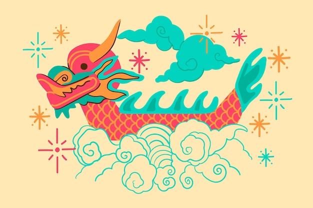 Лодка дракона декоративный фон Бесплатные векторы