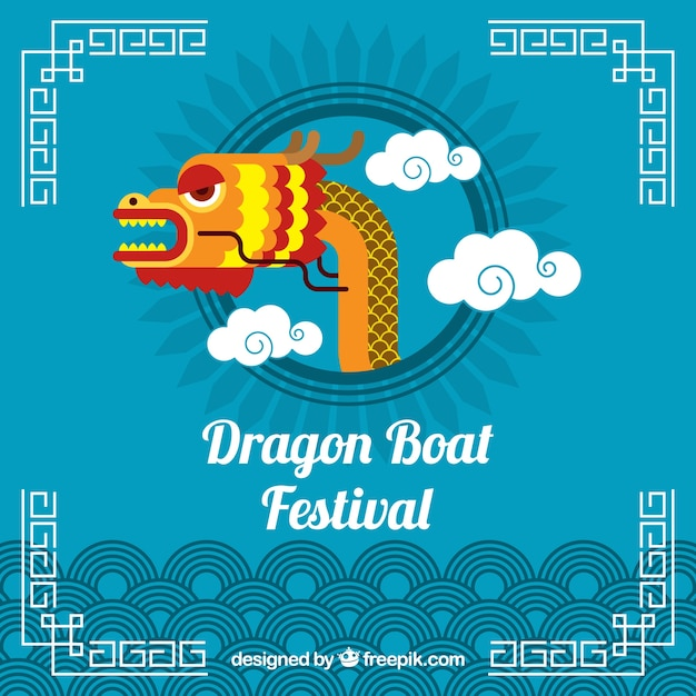 Dragon boat festival background with dragon\ head in the middle