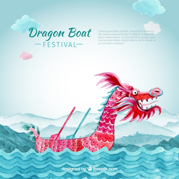 Dragon boat festival background Free Vector