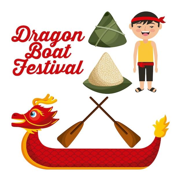 Dragon boat festival chinese man rice dumpling Premium Vector