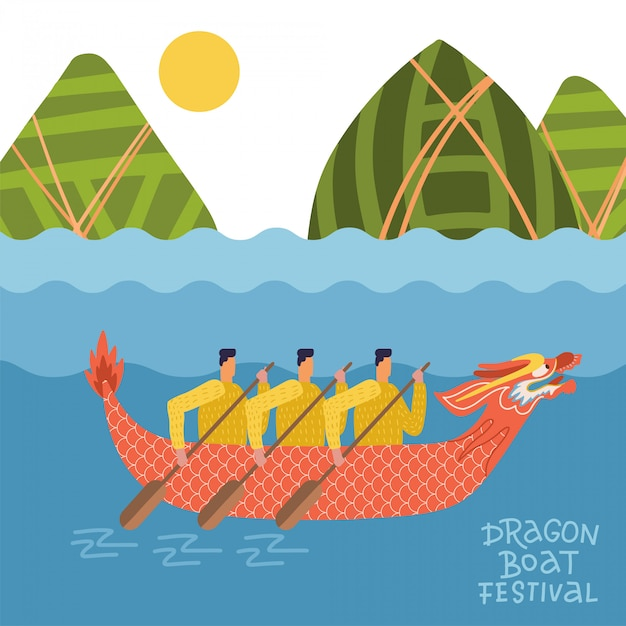 Dragon boat festival - duanwu or zhongxiao. river landscape with chinese dragon boat with men and mountains in dumplings shape. flat   illustration Premium Vector
