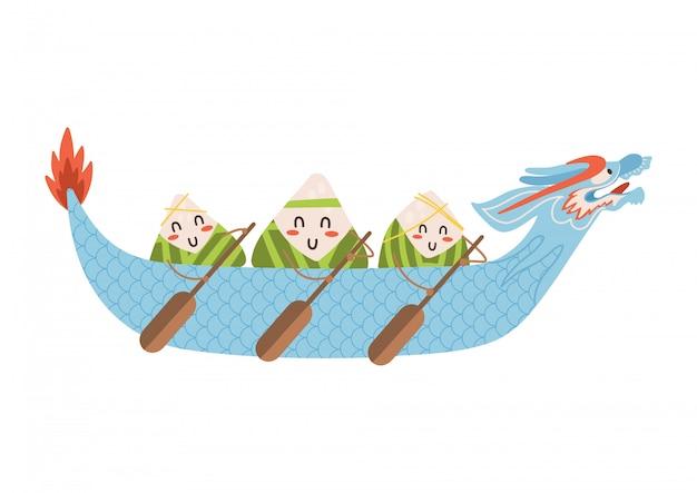 Дракон лодке фестиваль пельмени персонажей с веслами в руке в красивой  синей лодке. плоский рисунок на белом фоне. | Премиум векторы