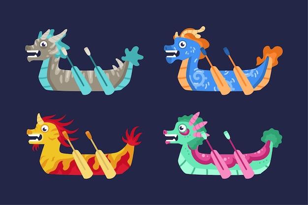 Стая лодок-драконов Бесплатные векторы