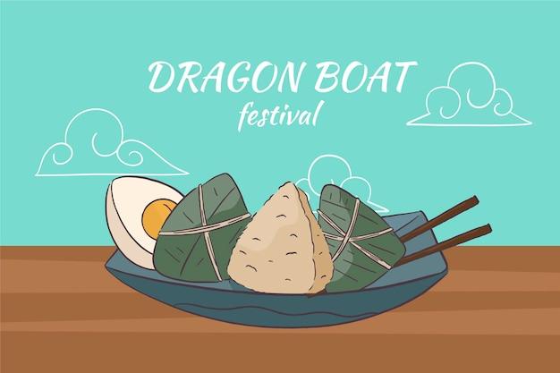 Драконы лодки фон zongzi Бесплатные векторы