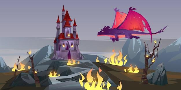 ドラゴン呼吸火が城を攻撃 無料ベクター