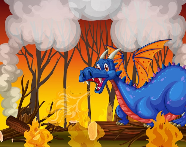 Dragon buring the forest Premium Vector