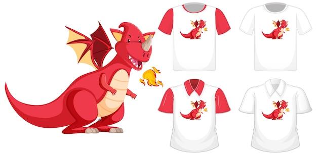 Personaggio dei cartoni animati del drago su diversa camicia bianca con maniche corte rosse Vettore gratuito
