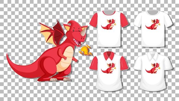 Personaggio dei cartoni animati del drago con set di camicie diverse isolate Vettore gratuito