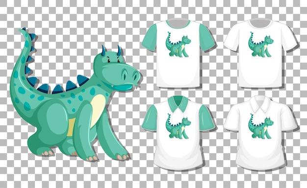 Дракон мультипликационный персонаж с набором различных рубашек изолированы Бесплатные векторы