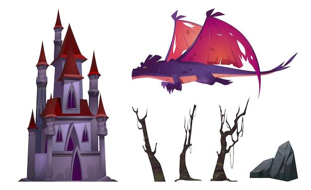 Дракон, замок, деревья и рок мультяшный набор, изолированные на белом Бесплатные векторы