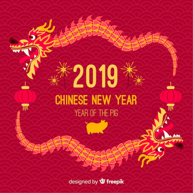 Dragon chinese new year background Free Vector