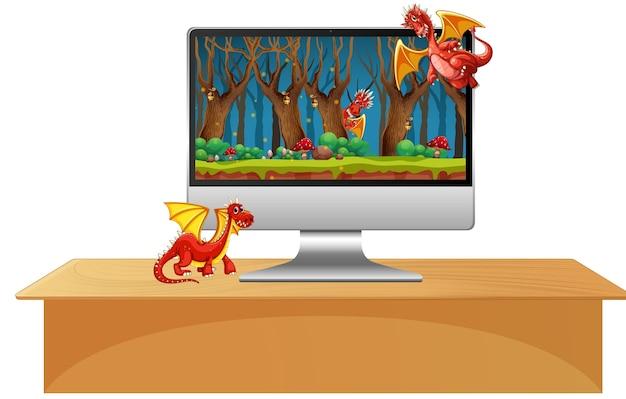 Drago sullo schermo del desktop del computer Vettore gratuito