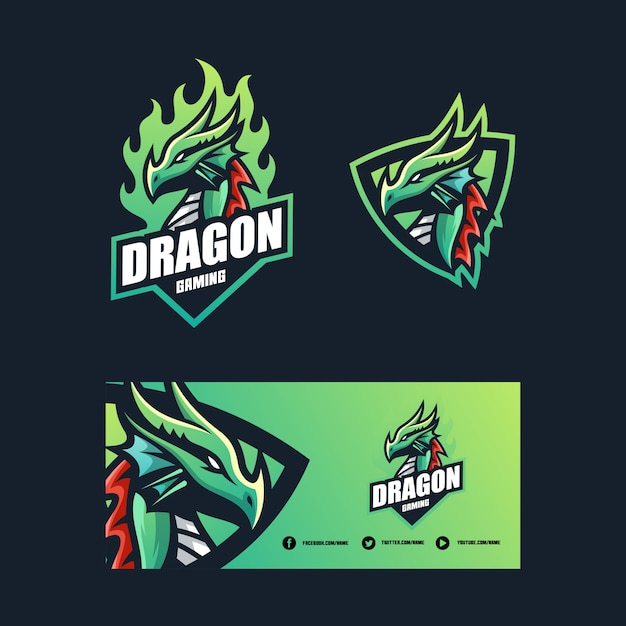 Dragon concept illustration vector design template Premium Vector