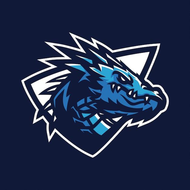 Dragon esport gaming mascot logo template Premium Vector