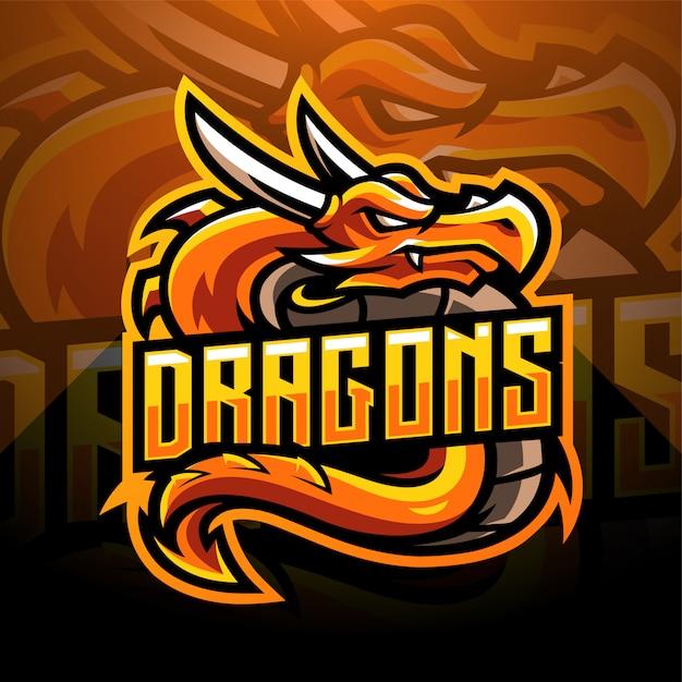 ドラゴンeスポーツマスコットロゴデザイン Premiumベクター