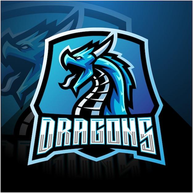 Логотип талисмана dragon esport со щитом Premium векторы