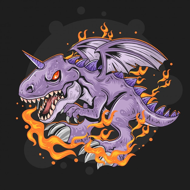 Dragon fire vector Premium Vector
