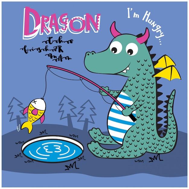湖の面白い動物漫画、ベクトルイラストでドラゴン釣り Premiumベクター