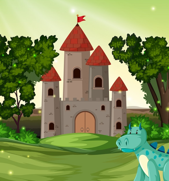 Dragon in front of the castle Free Vector