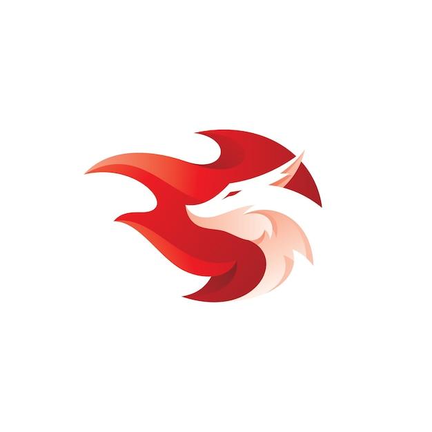 ドラゴンヘッドと火のマスコットのロゴ Premiumベクター