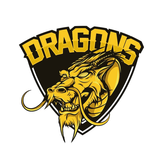 Dragon head badge design Premium Vector