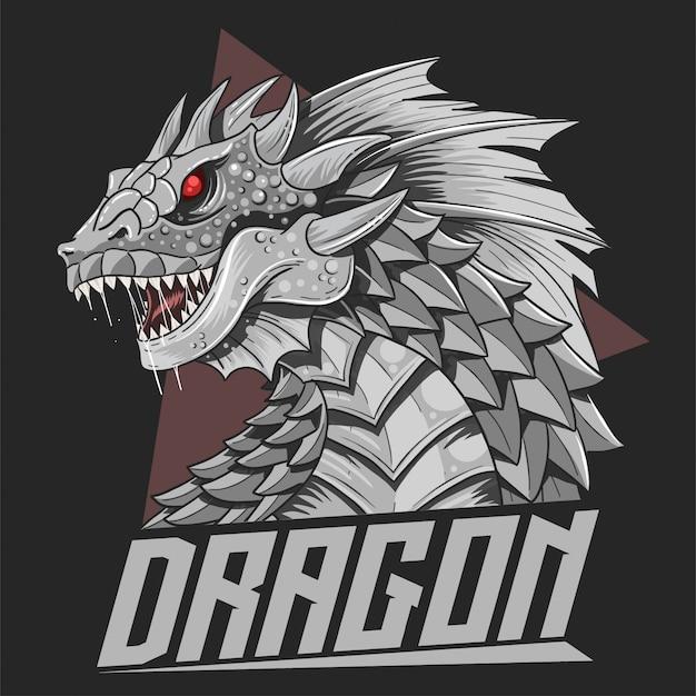 Dragon head silver awesome detail vector Premium Vector
