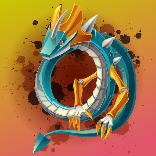 Dragon is fantastic animal character in fairy tale. Premium Vector