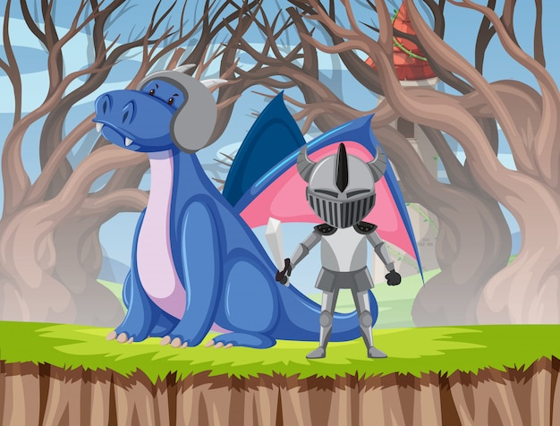 Dragon and knight scene Free Vector