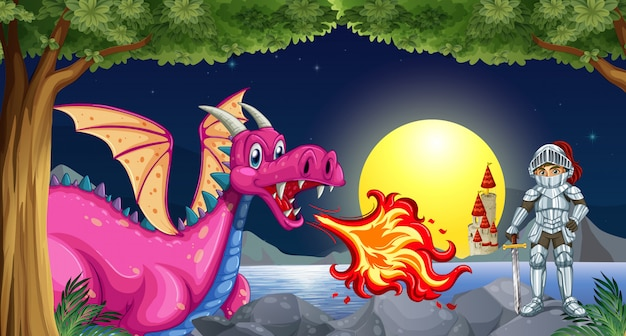 Dragon and knight Free Vector