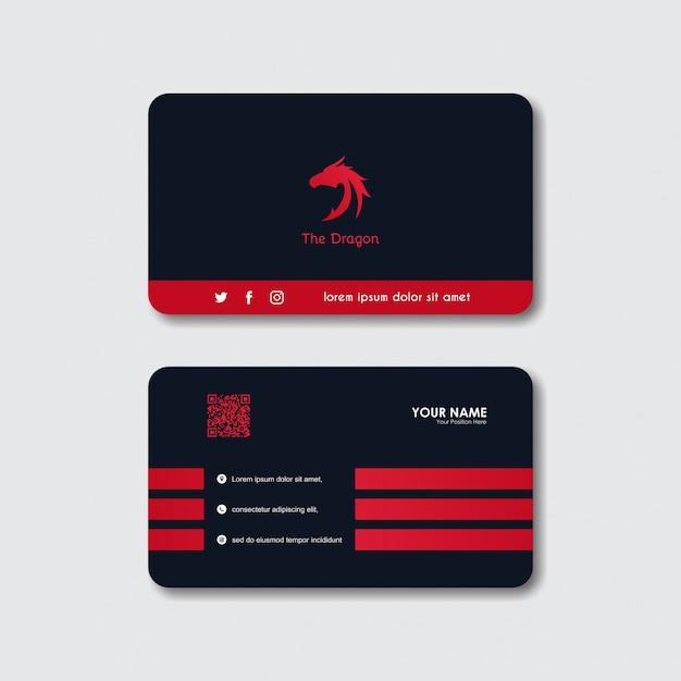 Dragon logo business card Premium Vector