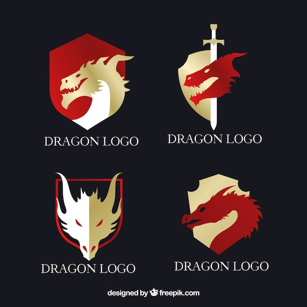 Dragon logo collection with flat design Free Vector