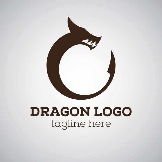 Dragon logo with tagline Free Vector