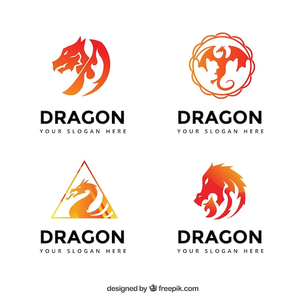 Dragon logos collection in gradient colors Free Vector