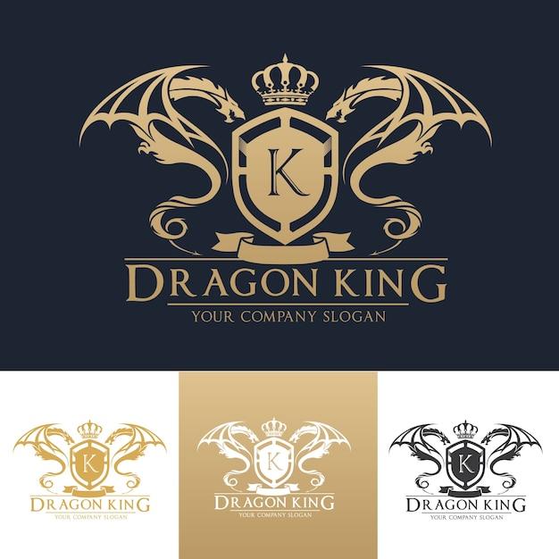 dragon luxury crest logo template vector premium download