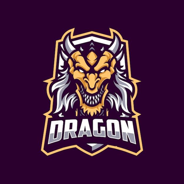 Dragon mascot in dark background Premium Vector