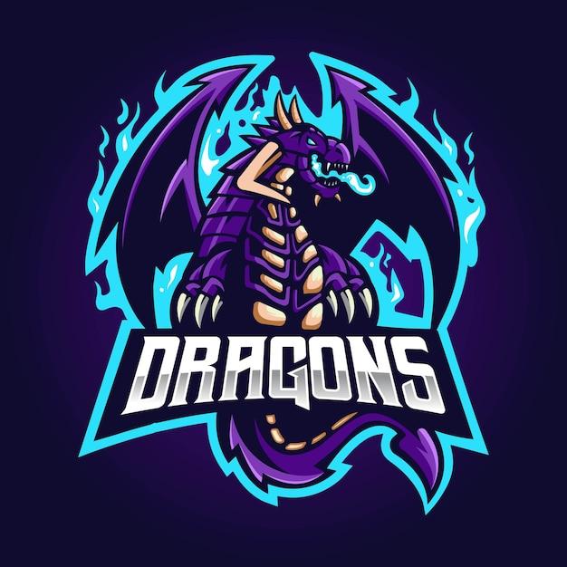 ドラゴンマスコットeスポーツロゴデザイン。青い炎の紫色のドラゴン Premiumベクター