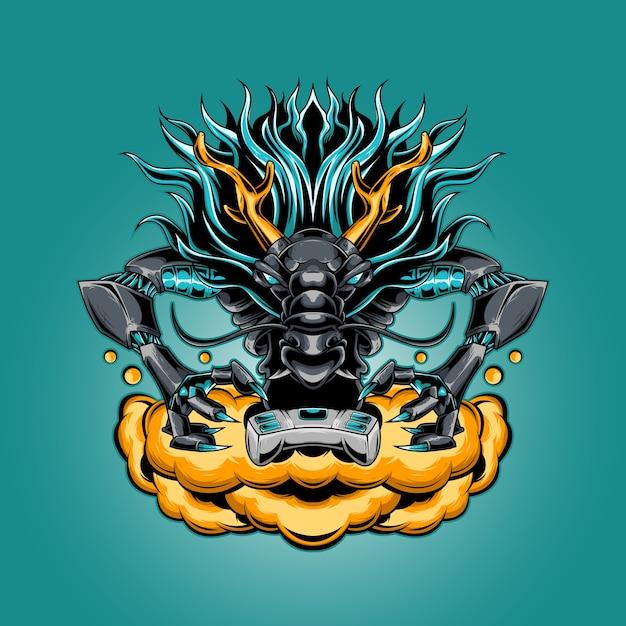 Dragon mascot esport logo Premium Vector