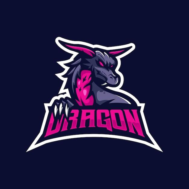 Eスポーツチームのドラゴンマスコットロゴ。 Premiumベクター