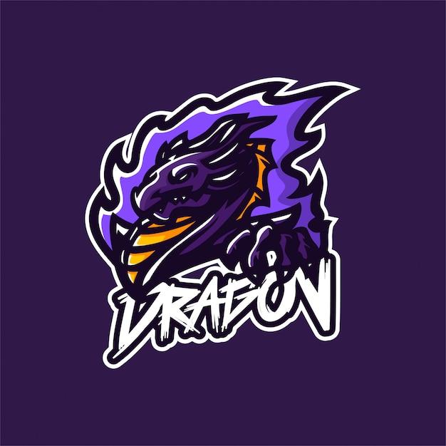 ドラゴンマスコットのロゴのテンプレート Premiumベクター