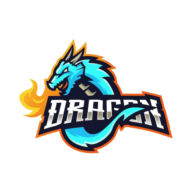 モダンなイラストとドラゴンのマスコットのロゴ Premiumベクター