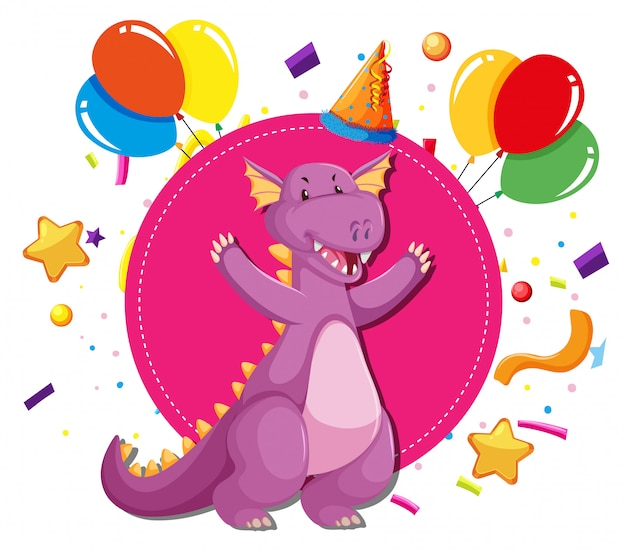 A dragon on party template Free Vector