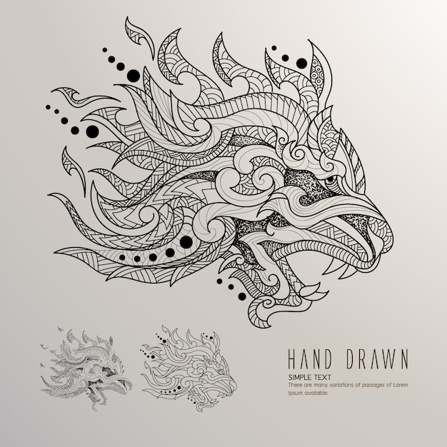 Dragon's head hand drawn Free Vector