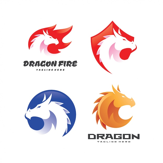 Dragon serpent logo template set Premium Vector
