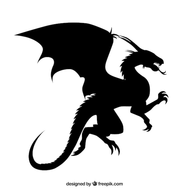 Dragon silhouette Free Vector