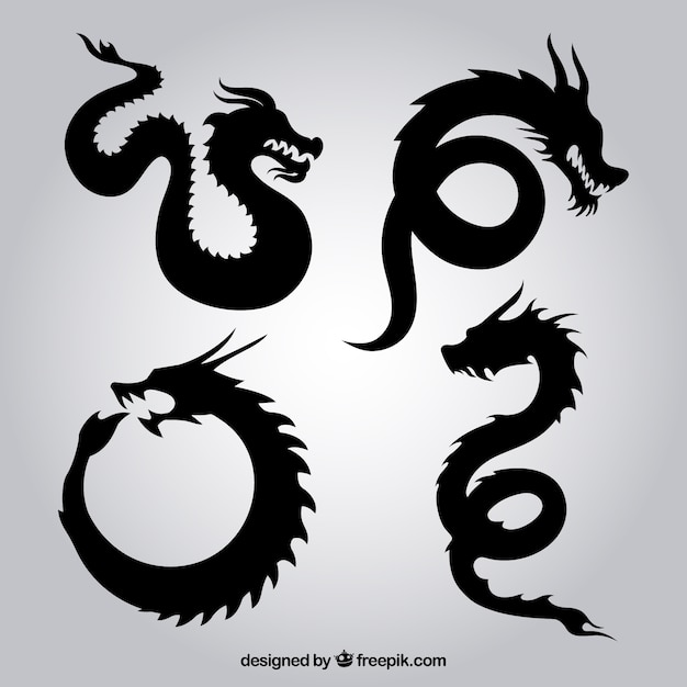 Dragon silhouettes Vector Free Download