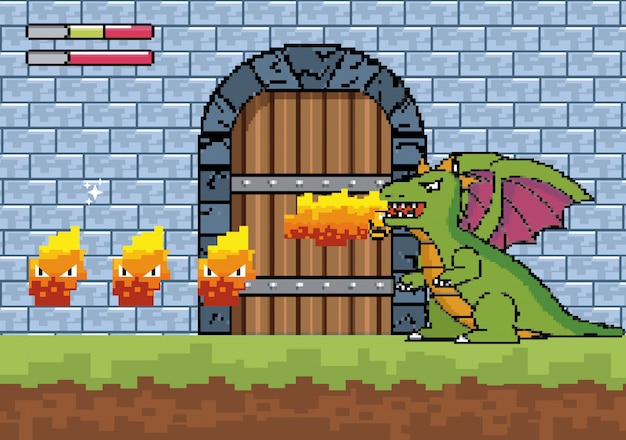 Dragon spits fire and character in the castle door Free Vector