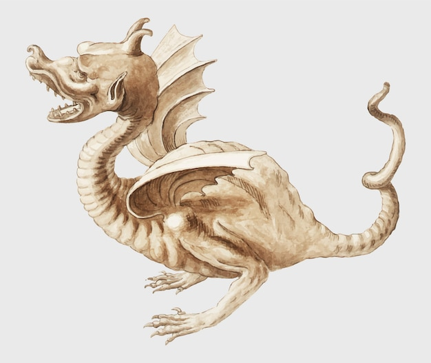 Dragon in vintage style Free Vector