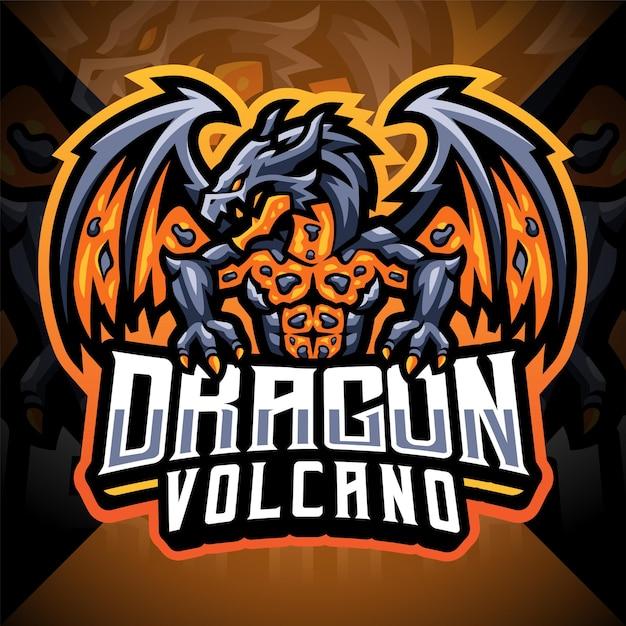 ドラゴン火山eスポーツマスコットロゴ Premiumベクター