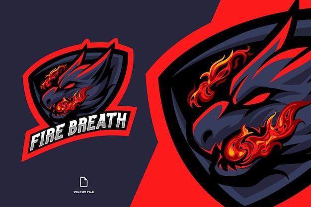 ゲームチームのための火吹きマスコットeスポーツロゴイラストとドラゴン Premiumベクター